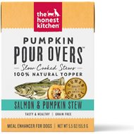 The Honest Kitchen Pumpkin POUR OVERS Salmon & Pumpkin Stew Wet Dog Food Topper, 5.5-oz, case of 12