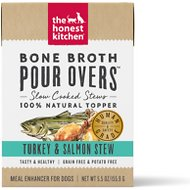 The Honest Kitchen Bone Broth POUR OVERS Turkey & Salmon Stew Wet Dog Food Topper, 5.5-oz, case of 12