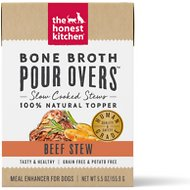 The Honest Kitchen Bone Broth POUR OVERS Beef Stew Wet Dog Food Topper, 5.5-oz, case of 12