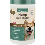 NaturVet Hemp Joint Health Plus Hemp Seed Dog Soft Chews, 60 count
