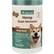 NaturVet Hemp Quiet Moments Plus Hemp Seed Dog Soft Chews, 60 count