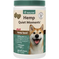 NaturVet Hemp Quiet Moments Plus Hemp Seed Dog Soft Chews, 180 count