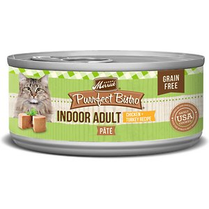 Merrick Purrfect Bistro Indoor Adult Chicken Pate Grain-Free Canned Cat Food, 5.5-oz, case of 24; Serve up some bistro-inspired yumminess for your pal with the Merrick Purrfect Bistro Indoor Adult Chicken Pate Grain-Free Canned Cat Food. It's packed with high-protein, tender chicken as the first ingredient and mixed with turkey and organic alfalfa. Loaded with antioxidants to support immunity, omegas for a healthy skin and coat, plus vitamins, minerals and taurine in every bite, it's sure to fuel all your kitty's adventures, and then yum! Plus, it has zero grains, artificial colors, flavors or preservatives so you can let kitty dive right into his bowl.