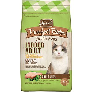 Merrick Purrfect Bistro Grain-Free Indoor Adult Chicken + Sweet Potato Recipe Dry Cat Food, 4-lb bag; Nourish your indoor cat with Merrick Purrfect Bistro Chicken + Sweet Potato Recipe. It features deboned chicken as the 1st ingredient for a protein-rich formula that helps build and maintain your pet's lean muscles. The grain-free formula helps your feline friend maintain his healthy weight. It contains omega-3 and 6 fatty acids to help nourish your adult cat's skin and fur. Plus, the delicious kibble is made in the USA with antioxidants to help support your pal's healthy immune system.