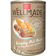 Cloud Star WellMade Homestyle Meals Everyday Fall Feast With Turkey Recipe Grain-Free Canned Dog Food, 12.5-oz, case of 12
