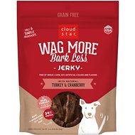 Cloud Star Wag More Bark Less Turkey & Cranberry Recipe Grain-Free Jerky Dog Treats, 10-oz bag