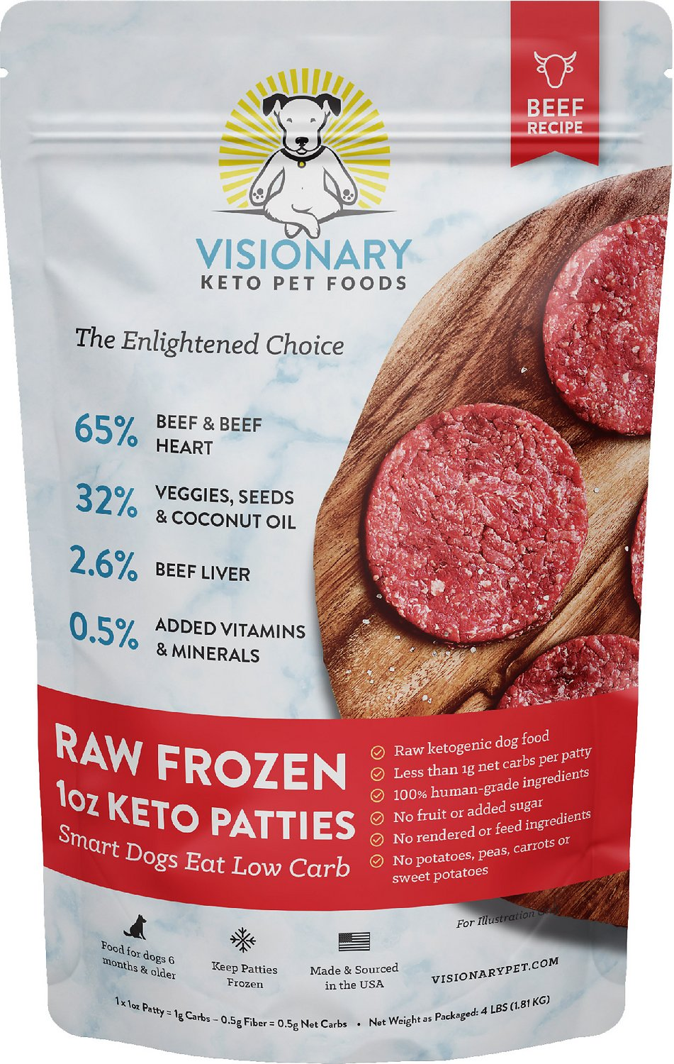 Visionary Pet Foods Raw Frozen Keto Beef Recipe Sliders Adult Dog Food 4 Lb Bag
