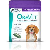 OraVet Dental Hygiene Chews for Dogs, 25 - 50 lbs, 30 count