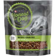 Honest To Dog Natural + Grain-Free Dog Treats, Crispy Cuts Beef & Blueberries Recipe, 30-oz pouch