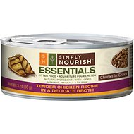 Simply Nourish Essentials Tender Chicken Recipe Kitten Chunks in Gravy Canned Cat Food, 3-oz, case of 24