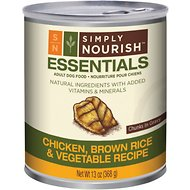 Simply Nourish Essentials Chicken, Brown Rice & Vegetable Recipe Adult Chunks in Gravy Canned Dog Food, 13-oz, case of 12