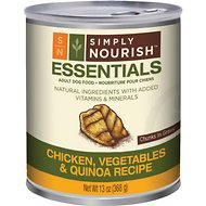 Simply Nourish Essentials Chicken, Vegetables & Quinoa Recipe Adult Chunks in Gravy Canned Dog Food, 13-oz, case of 12