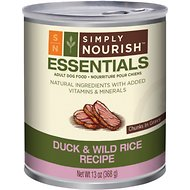 Simply Nourish Essentials Duck & Wild Rice Recipe Adult Chunks in Gravy Canned Dog Food, 13-oz, case of 12