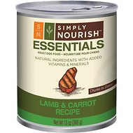 Simply Nourish Essentials Lamb & Carrot Recipe Adult Chunks in Gravy Canned Dog Food, 13-oz, case of 12