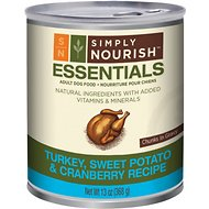 Simply Nourish Essentials Turkey, Sweet Potato & Cranberry Recipe Adult Chunks in Gravy Canned Dog Food, 13-oz, case of 12
