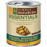 Simply Nourish Essentials Chicken, Brown Rice & Vegetables Recipe Puppy Chunks in Gravy Canned Dog Food, 13-oz, case of 12