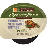 Simply Nourish Grain-Free Chicken & Vegetable Entree Adult Cuts in Gravy Dog Food Trays, 3.5-oz, case of 12