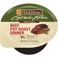 Simply Nourish Grain-Free Beef Pot Roast Dinner Adult Cuts in Gravy Dog Food Trays, 3.5-oz, case of 12