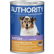 Authority Chicken & Rice Entree Mature Ground Canned Dog Food, 13-oz, case of 12