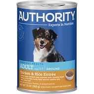 Authority Chicken & Rice Entree Adult Ground Canned Dog Food, 13-oz, case of 12
