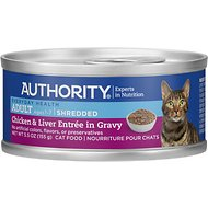 Authority Chicken & Liver Entree in Gravy Adult Shredded Canned Cat Food, 5.5-oz, case of 24