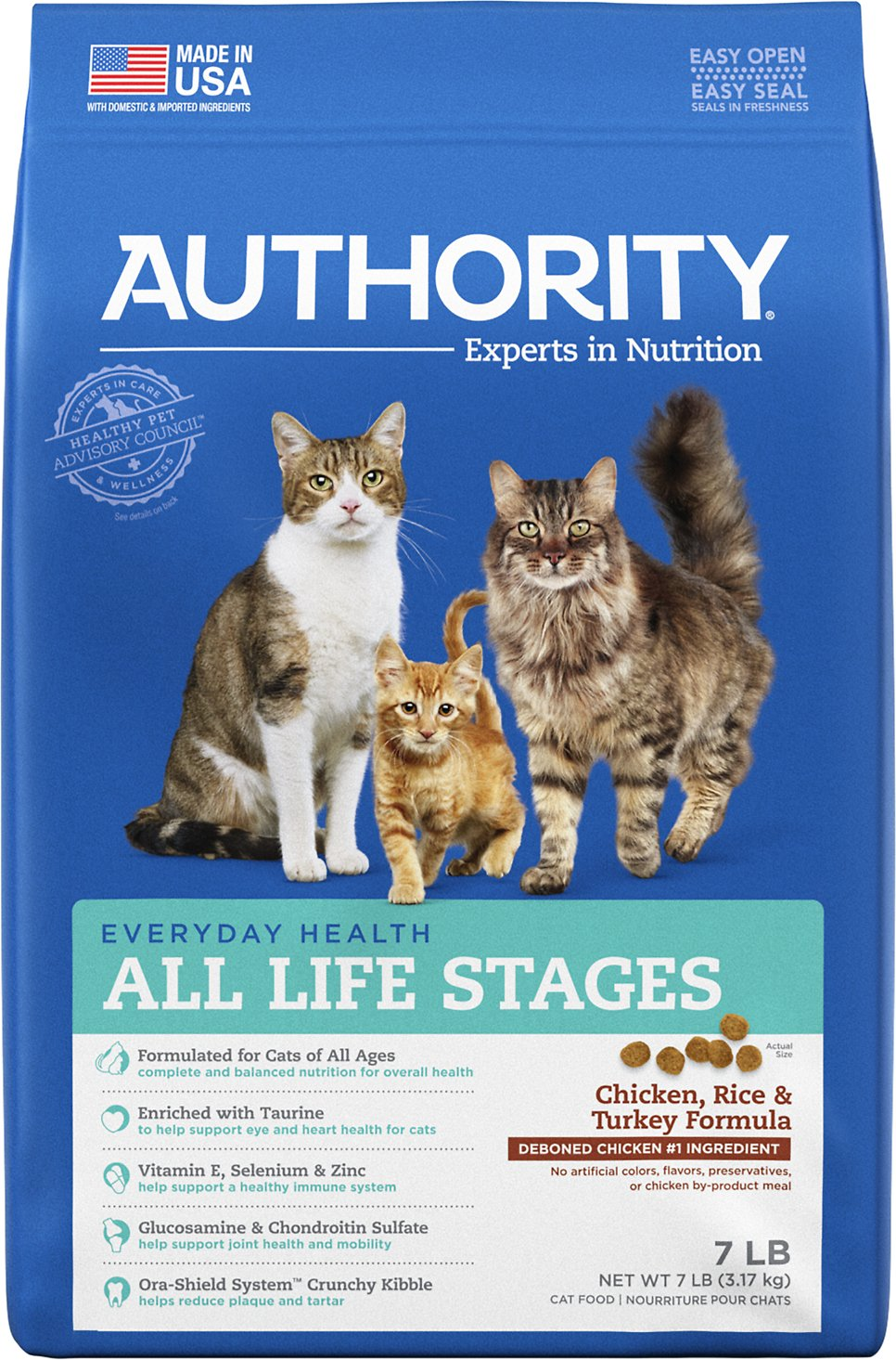 Authority Chicken Rice Turkey Formula Dry Cat Food 7 Lb Bag Chewy Com