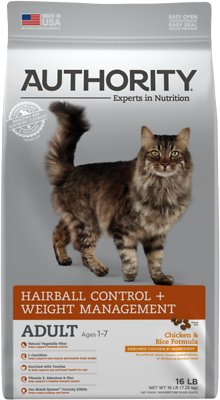 1. Authority Hairball Control & Weight Management Adult Dry Cat Food