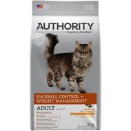 Authority Hairball Control & Weight Management Chicken & Rice Formula Adult Dry Cat Food, 16-lb bag