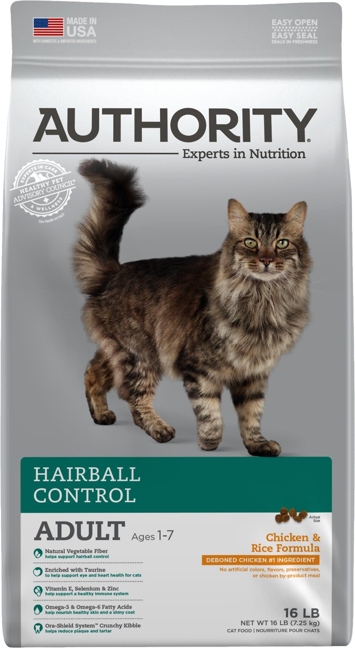 Authority Hairball Control Chicken \u0026 Rice Formula Adult Dry Cat Food, 16,lb  bag