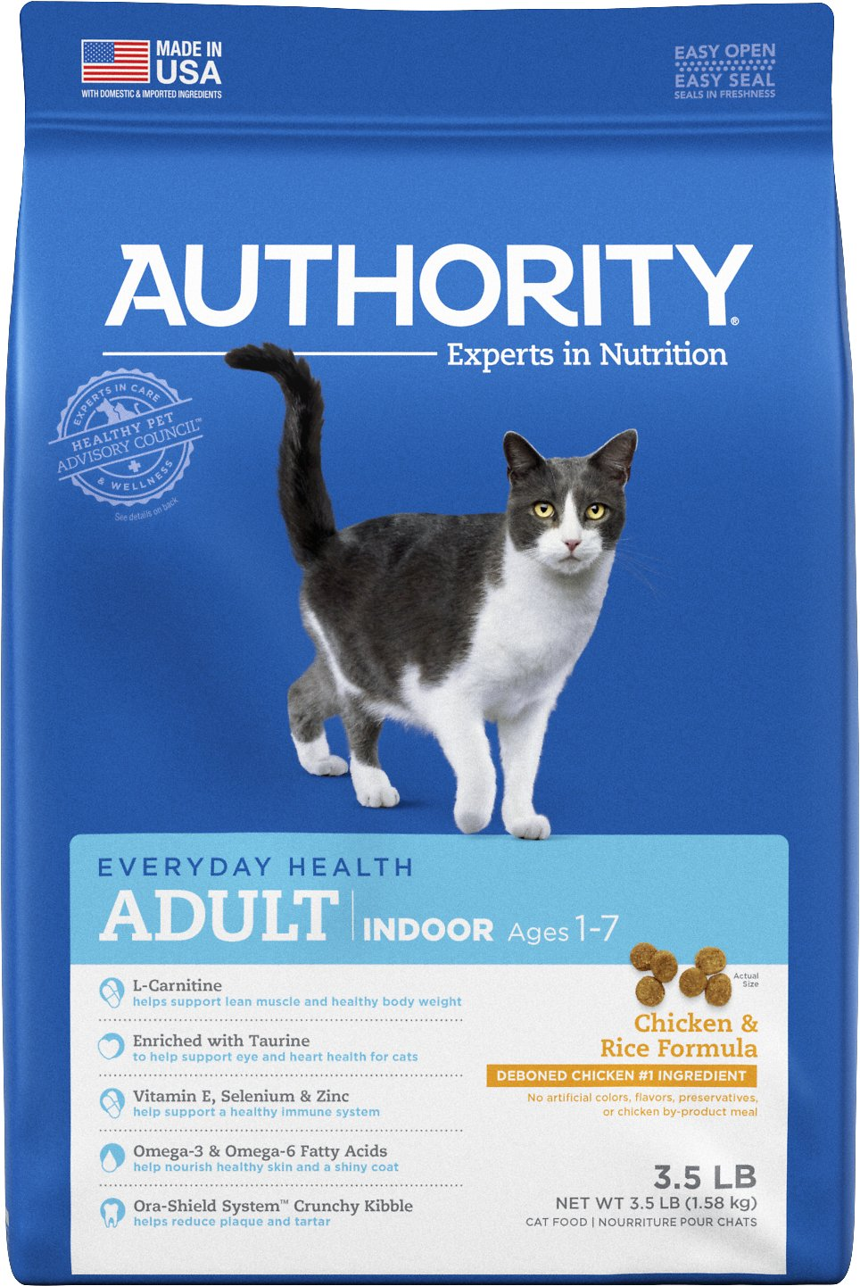 Authority Indoor Chicken Rice Formula Adult Dry Cat Food 3 5 Lb Bag Chewy Com