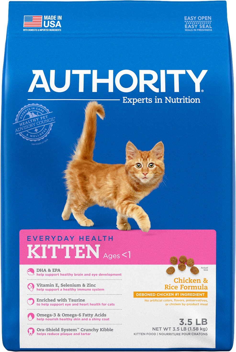 Authority Chicken Rice Formula Kitten Dry Cat Food 3 5 Lb Bag Chewy Com