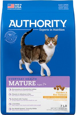 7. Authority Mature Senior Dry Cat Food