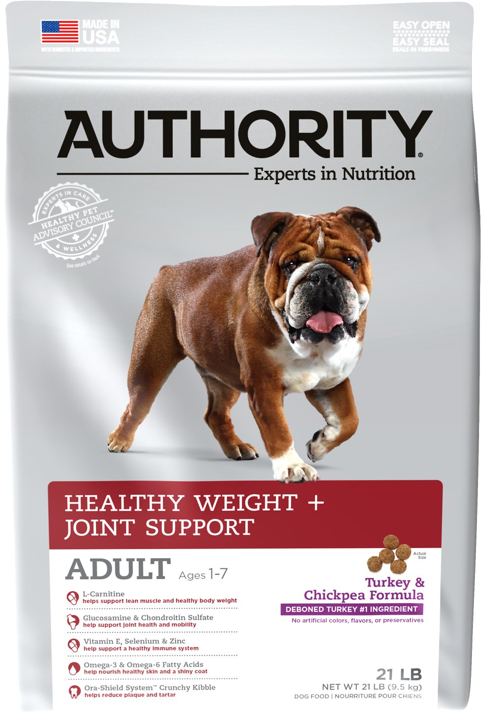 Authority Healthy Weight & Joint Support Turkey & Chickpea Formula Adult  Dry Dog Food, 21-lb bag