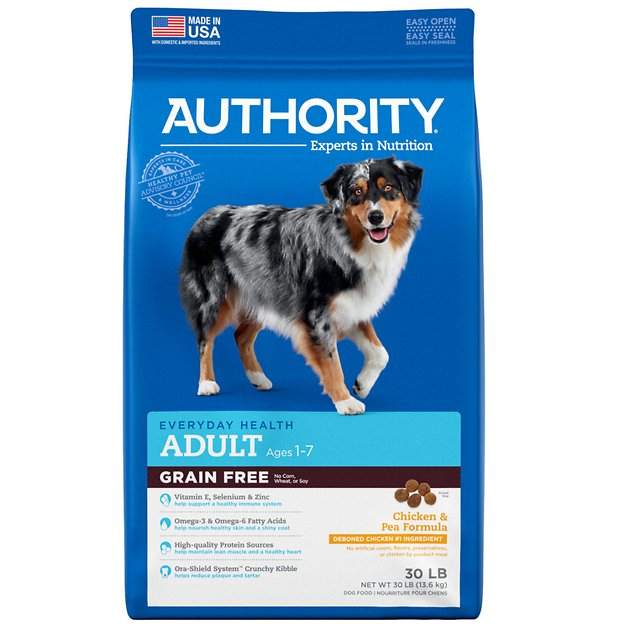 Authority chicken & pea formula grain-free adult dry dog food, 30.
