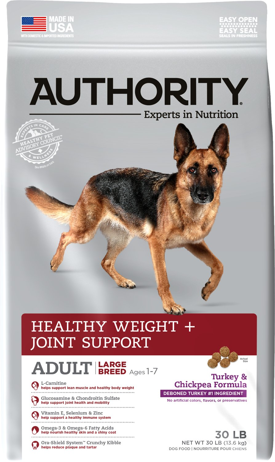 Authority Healthy Weight & Joint Support Turkey & Chickpea Formula Large  Breed Adult Dry Dog Food, 30-lb bag