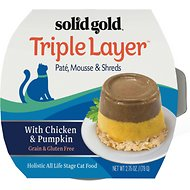 Solid Gold Triple Layer Mousse and Shreds with Real Chicken & Pumpkin Wet Cat Food, 2.75-oz, case of 6
