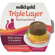 Solid Gold Triple Layer Mousse and Shreds with Real Salmon & Pumpkin Wet Cat Food, 2.75-oz, case of 6