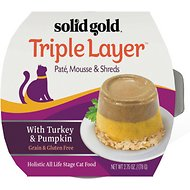 Solid Gold Triple Layer Mousse and Shreds with Real Turkey & Pumpkin Wet Cat Food, 2.75-oz, case of 6