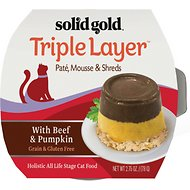 Solid Gold Triple Layer Mousse and Shreds with Real Beef & Pumpkin Wet Cat Food, 2.75-oz, case of 6