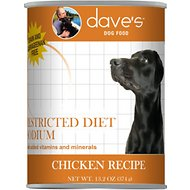 Dave's Pet Food Restricted Sodium Chicken Recipe Canned Dog Food, 13-oz, case of 12