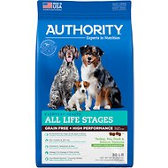 Authority Turkey, Pea, Duck & Salmon Formula Grain-Free & High Performance Dry Dog Food, 30-lb bag