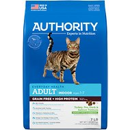 Authority Turkey, Pea, Duck & Salmon Formula Indoor Grain-Free & High Performance Adult Dry Cat Food, 7-lb bag