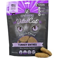 Vital Essentials Turkey Mini Patties Grain Free Limited Ingredient Freeze-Dried Cat Food, 8-oz bag