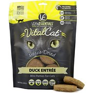 Vital Essentials Duck Mini Patties Grain Free Limited Ingredient Freeze-Dried Cat Food, 8-oz bag