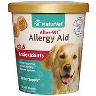 NaturVet Aller-911 Allergy Aid Soft Chews 70 count & Aller-911 Hot Spot Allergy Aid Foam 8-oz, Bundle Promo Package