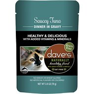 Dave's Pet Food Saucey Tuna Dinner in Gravy Grain-Free Wet Cat Food, 2.8-oz pouch, case of 24