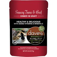 Dave's Pet Food Saucey Tuna & Beef Dinner in Gravy Grain-Free Wet Cat Food, 2.8-oz pouch, case of 24