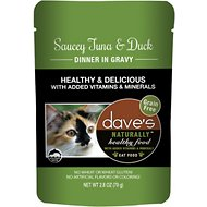 Dave's Pet Food Saucey Tuna & Duck Dinner in Gravy Grain-Free Wet Cat Food, 2.8-oz pouch, case of 24