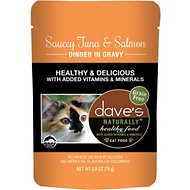 Dave's Pet Food Saucey Tuna & Salmon  Dinner in Gravy Grain-Free Wet Cat Food, 2.8-oz pouch, case of 24