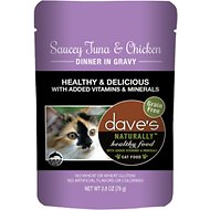 Dave's Pet Food Saucey Tuna & Chicken  Dinner in Gravy Grain-Free Wet Cat Food, 2.8-oz pouch, case of 24